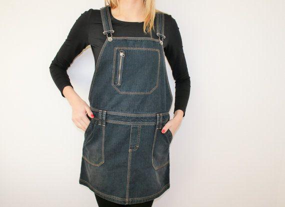 3cad0bd535 Denim Jumper Dress Overall Oversized Bib Dress Cotton Jeans Sarafan Mini  Skirt Skirtalls Grunge Jumpsuit Hipster Small Medium Size Materials