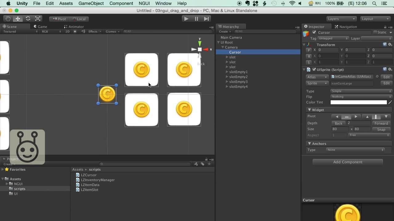 유니티3D 튜토리얼 - 03 - NGUI로 드래그앤드롭 구현 | Unity