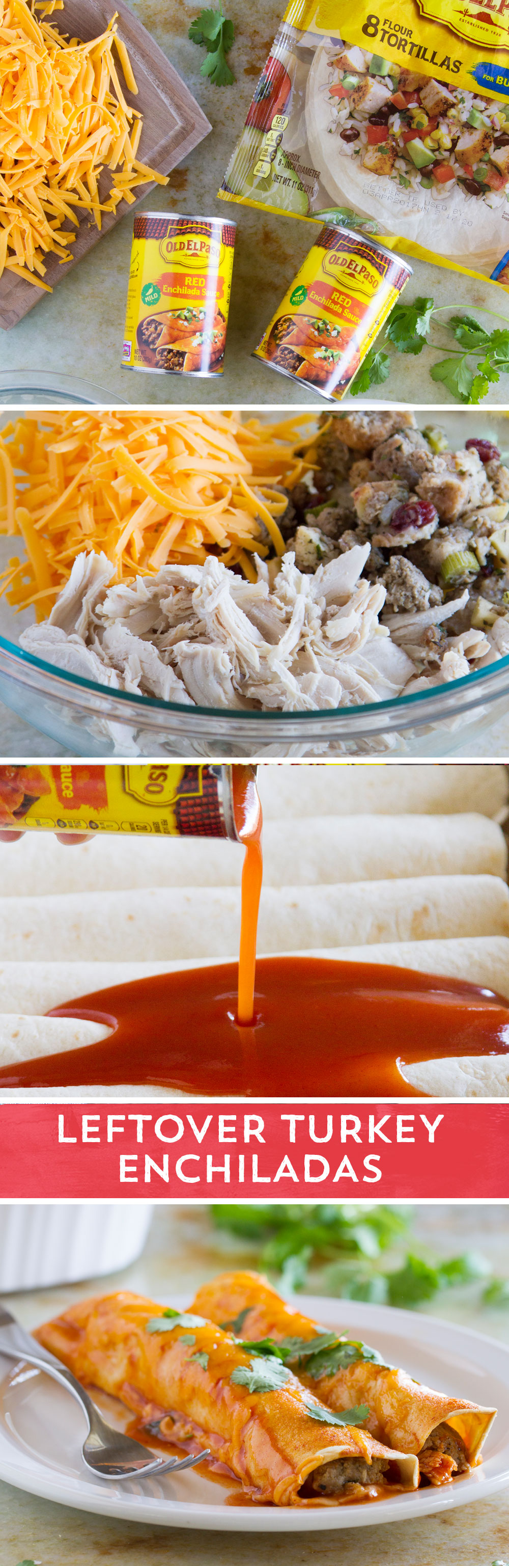 Looking For A Delicious Way To Use Up Those Holiday Leftovers These Leftover Turkey And Stuffing Enchiladas From Tasteandte Food Recipes Mexican Food Recipes