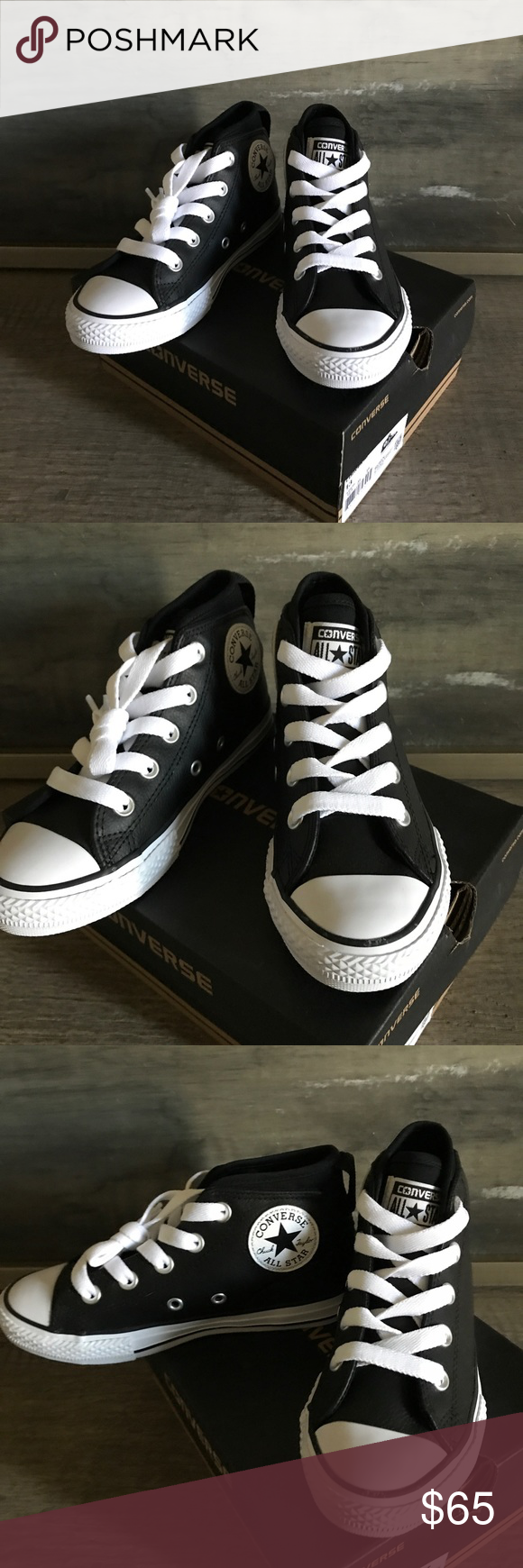 4613f6866750a0 Boys leather converse Little kid size 13 Brand new with box Black and white  hi tops