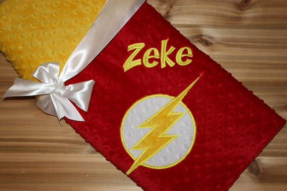 54624ccfd3 Superhero Blanket- Personalized Minky Blanket - Red   Yellow Minky - Embroidered  Superhero
