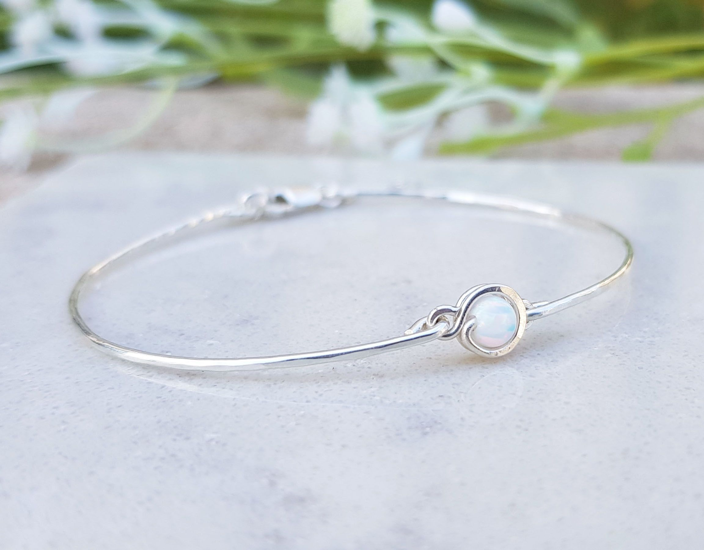 Sterling Silver Bracelet White Opal Tiny