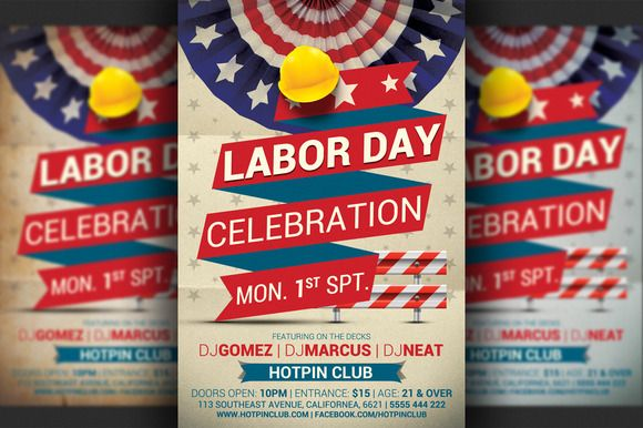 Labor Day Party Flyer Template  Residence Party    Party