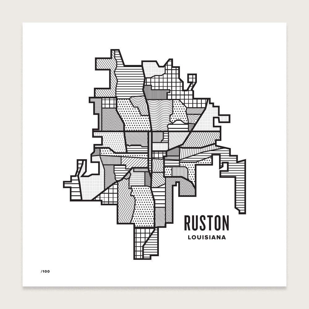 Pin by Emily Kinel on RK's APT Letterpress map, Ruston