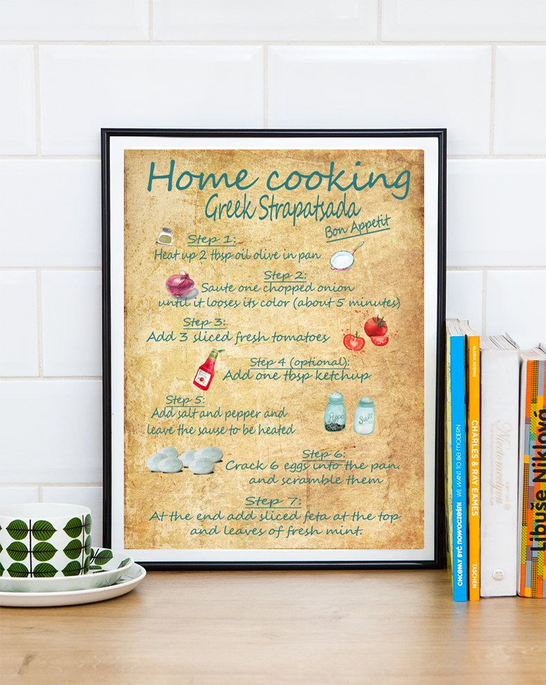 recipe print, Kitchen wall art, Greek Recipes print breakfast lunch ...