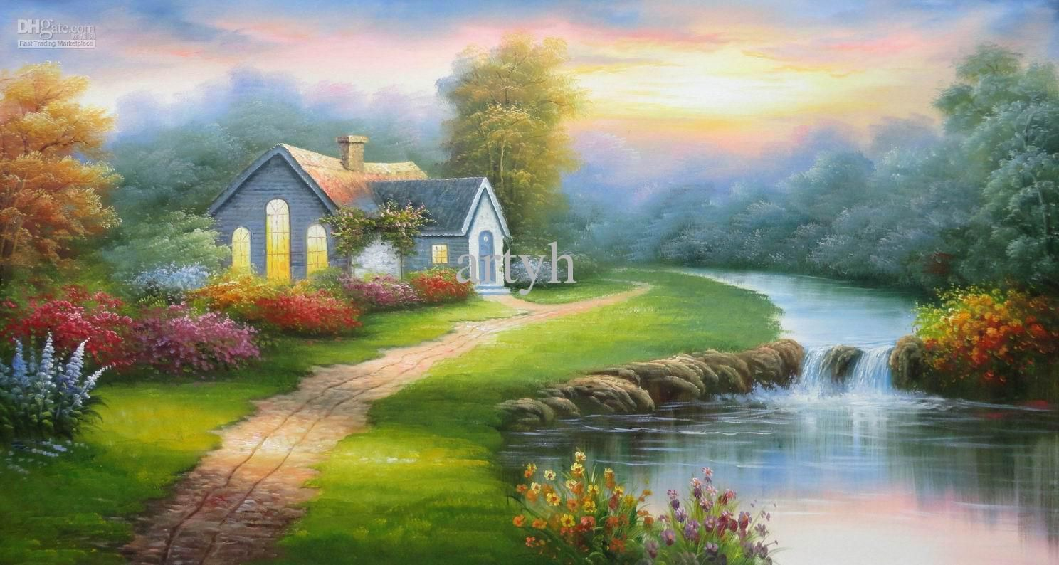 Wholesale cheap landscape painting online find best for Cheap canvas paintings for sale