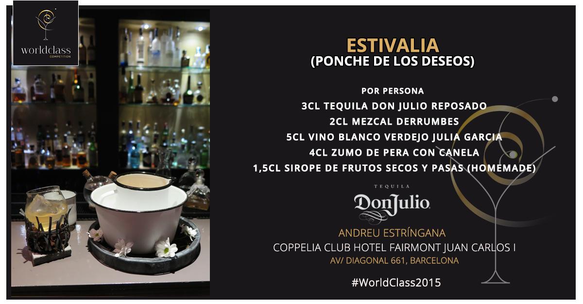 Estivalia (ponche de los deseos): Receta presentada por Andreu Estríngana para la competición de coctelería #WorldClass2015 con Tequila Don Julio. Podrás probarla en Coppelia Club, Avda. Diagonal 661, Barcelona