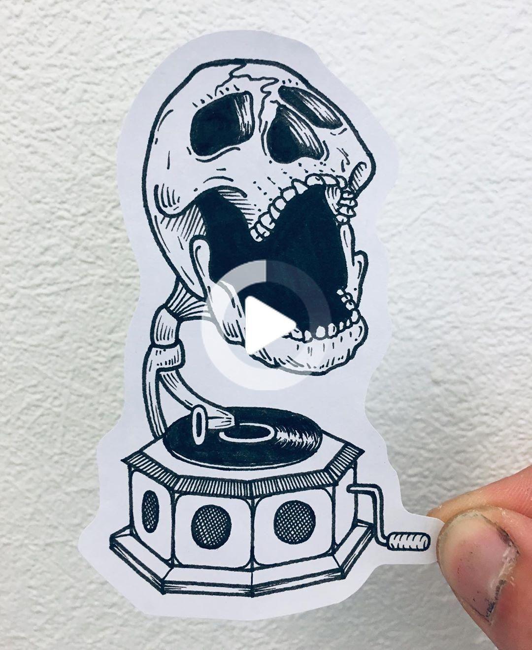 """VERDI on Instagram: """"#skull #skulltattoo #gramophone #gramophonetattoo #music #musictattoo #flash #flashtattoo #sketch #sketchtattoo #darkwork #darktattoo…"""" #rosetattoos"""