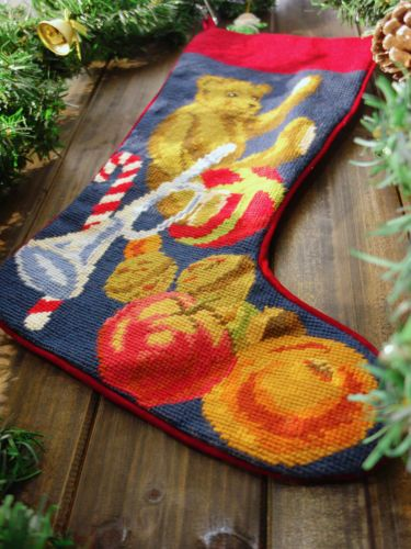 Hand Crafted Needlepoint Christmas Stocking Teddy Beay  Gifts