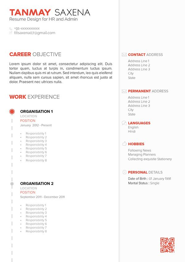 Resume - Template Design 01 - Free by Tanmay Saxena, via Behance
