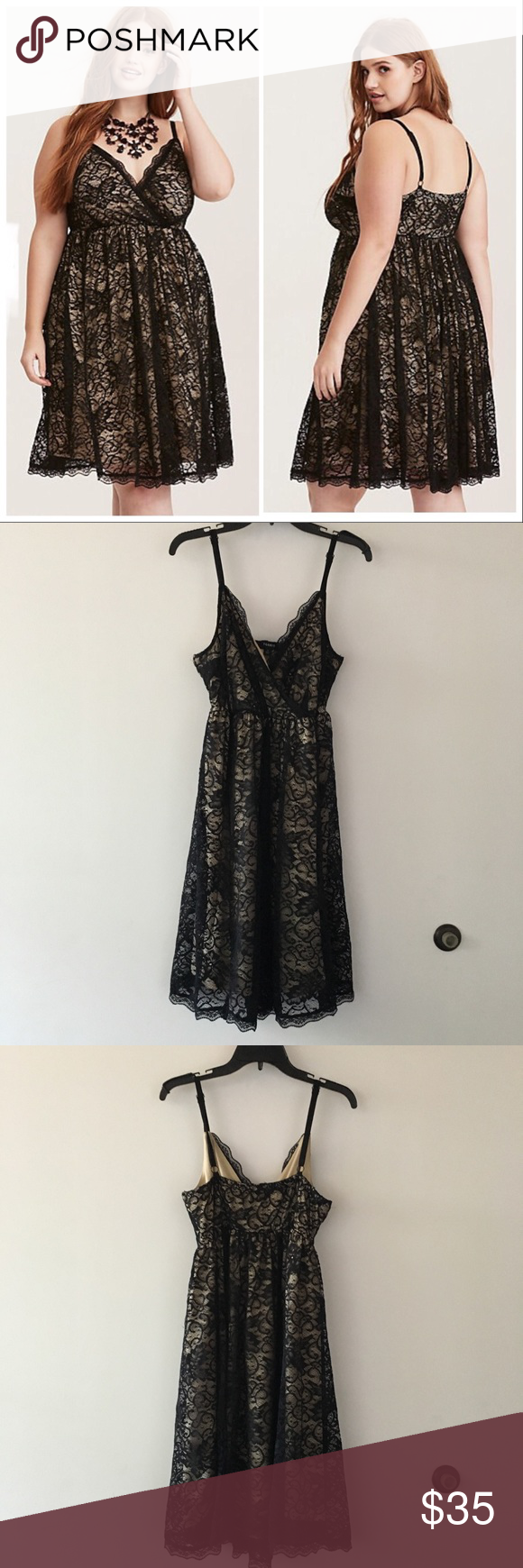 Lace dress torrid  Torrid Black u Nude Lace Surplice Skater Dress  My Posh Closet