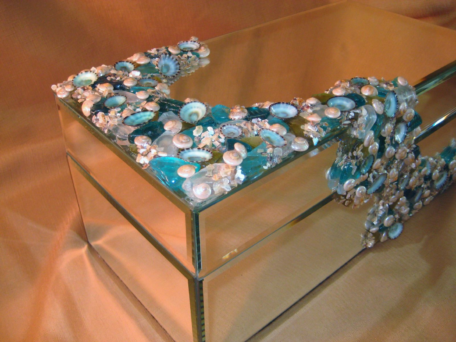 teal jewelry Item seaglassmosaicmirrortreasureboxseashell