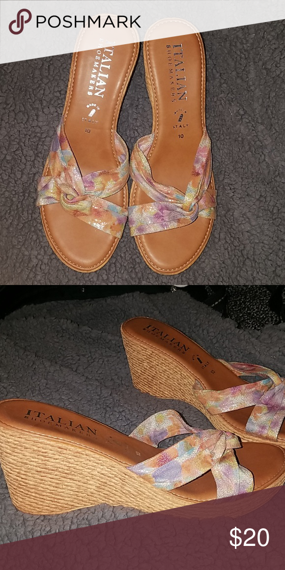 Italian Shoemakers colorful wedge sandal Made in Italy