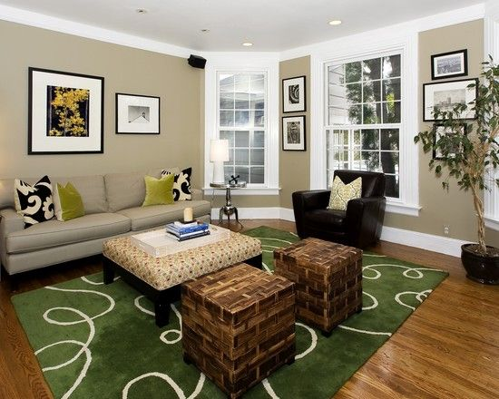Family Room Brown Tan And Light Green Wall Color Design Pictures