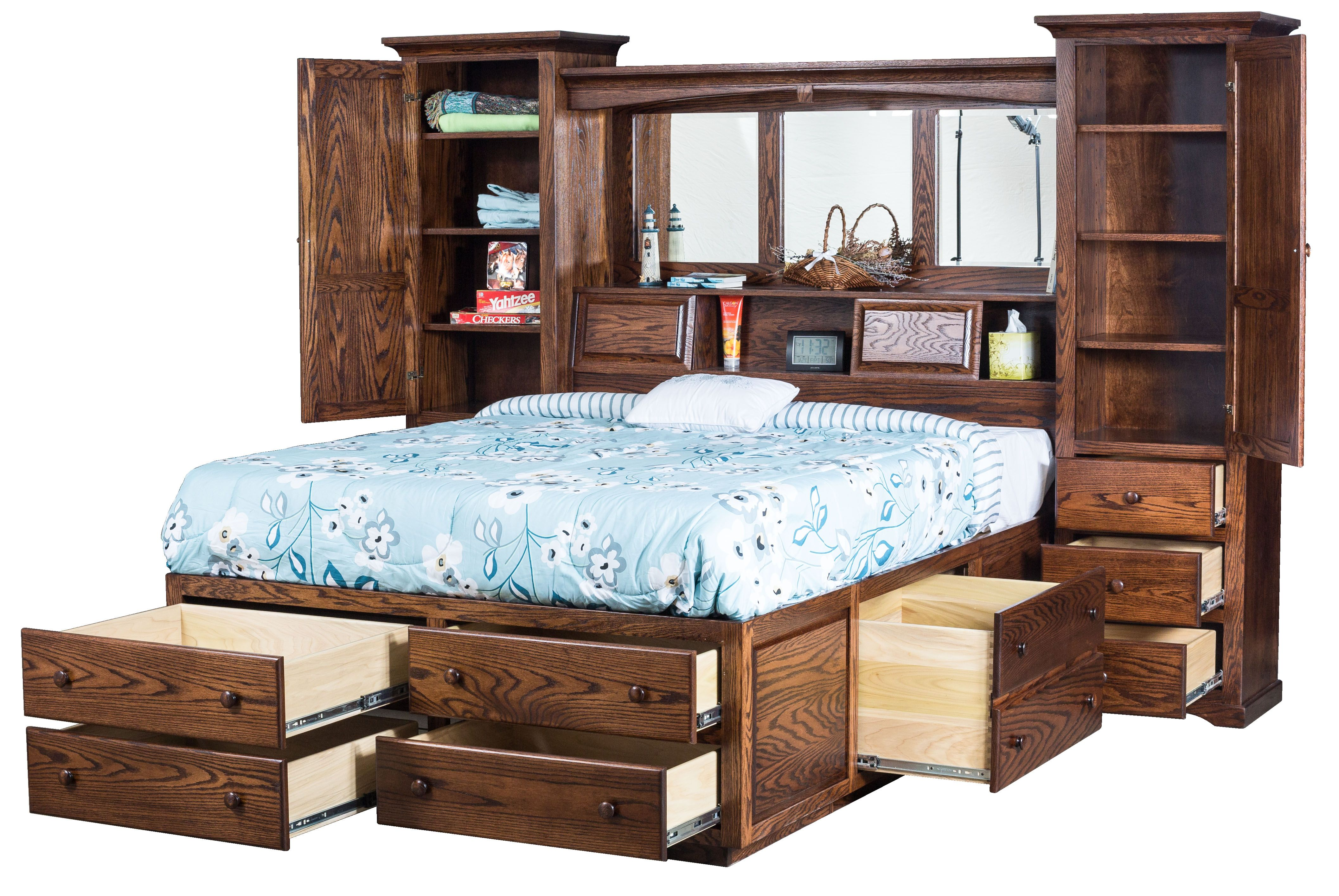 Bookcase headboard beds bedroom furniture amish oak in - Bedroom furniture bookcase headboard ...