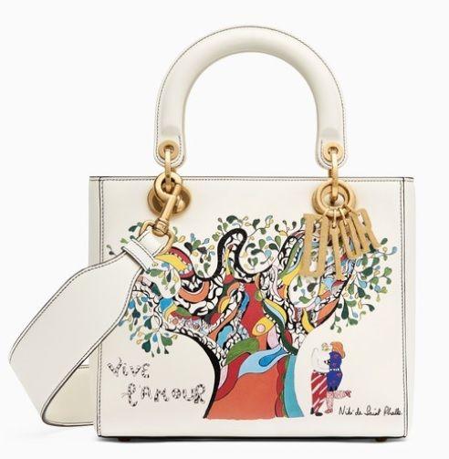 52af2a4d51e2 Bag In Off-White Calfskin With Textured Niki De Saint Phalle Print. Supple Lady  Dior bag in off-white calfskin with textured Niki de Saint Phalle print