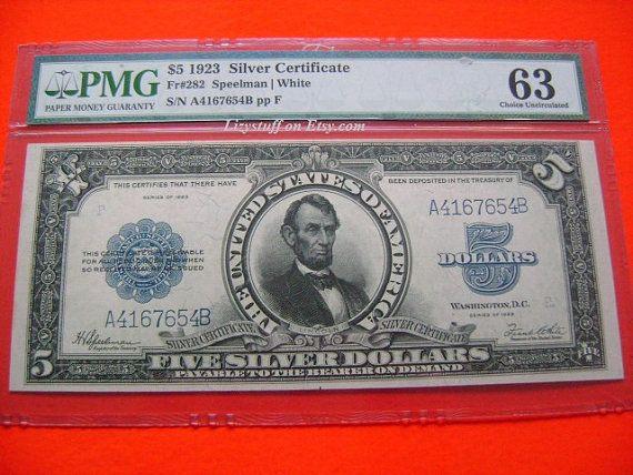 1923 US 5 Five Dollar Bill Porthole FR282 Speelman White Silver ...