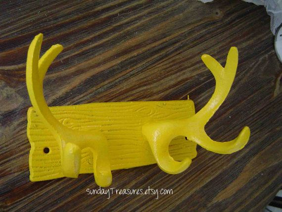 3 Day Ship Yellow Antlers Wall Hook Cast Iron by SundayTreasures ...