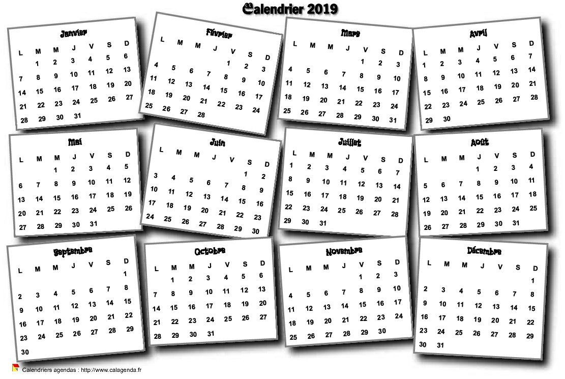Calendrier 2019 2020 Vierge A Imprimer.Calendrier 2019 Annuel 3d Pele Mele Calendrier 2018