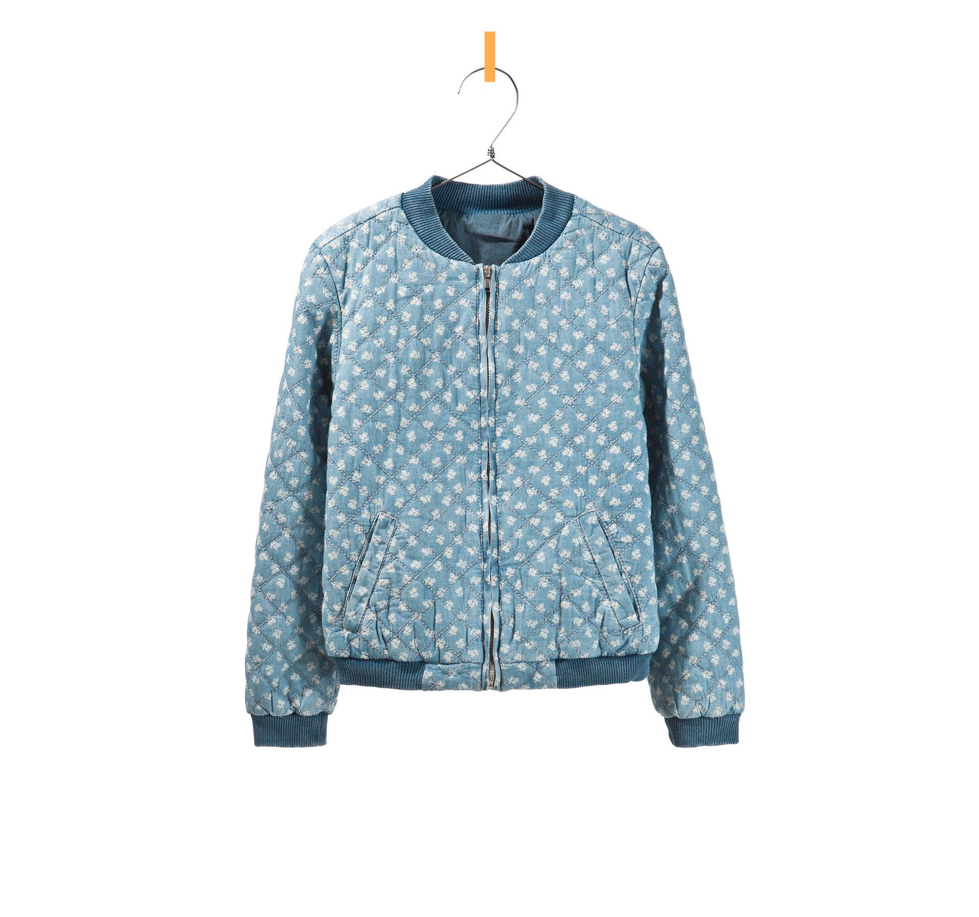 quilted floral denim knit outerwear Kids bomber jacket
