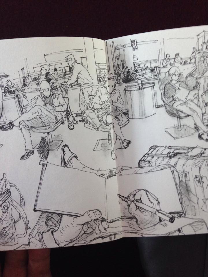 Quick sketch from airport - Kim Jung Gi