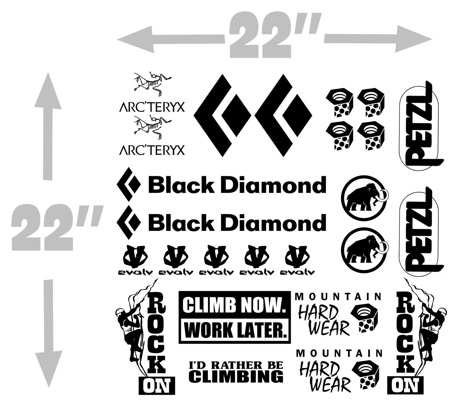 Details About Set Of 25 Climbing Decals
