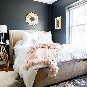 Black And Beige Bedroom With Pink Accents Small Master Bedroom