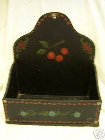Vintage toleware wooden box shabby cottage chic cherry (02/23/2008)
