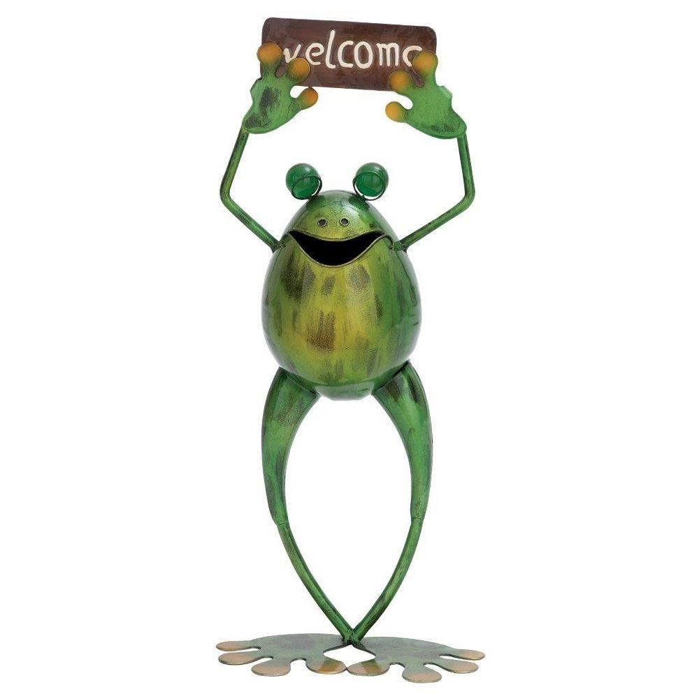 18 in. H x 8 in. L x 4 in. W Metal Welcome Frog, Green | Frogs ...