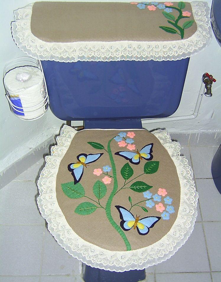 Juego de ba o con pintura en telay con encaje juegos de for Juego de artefactos de bano