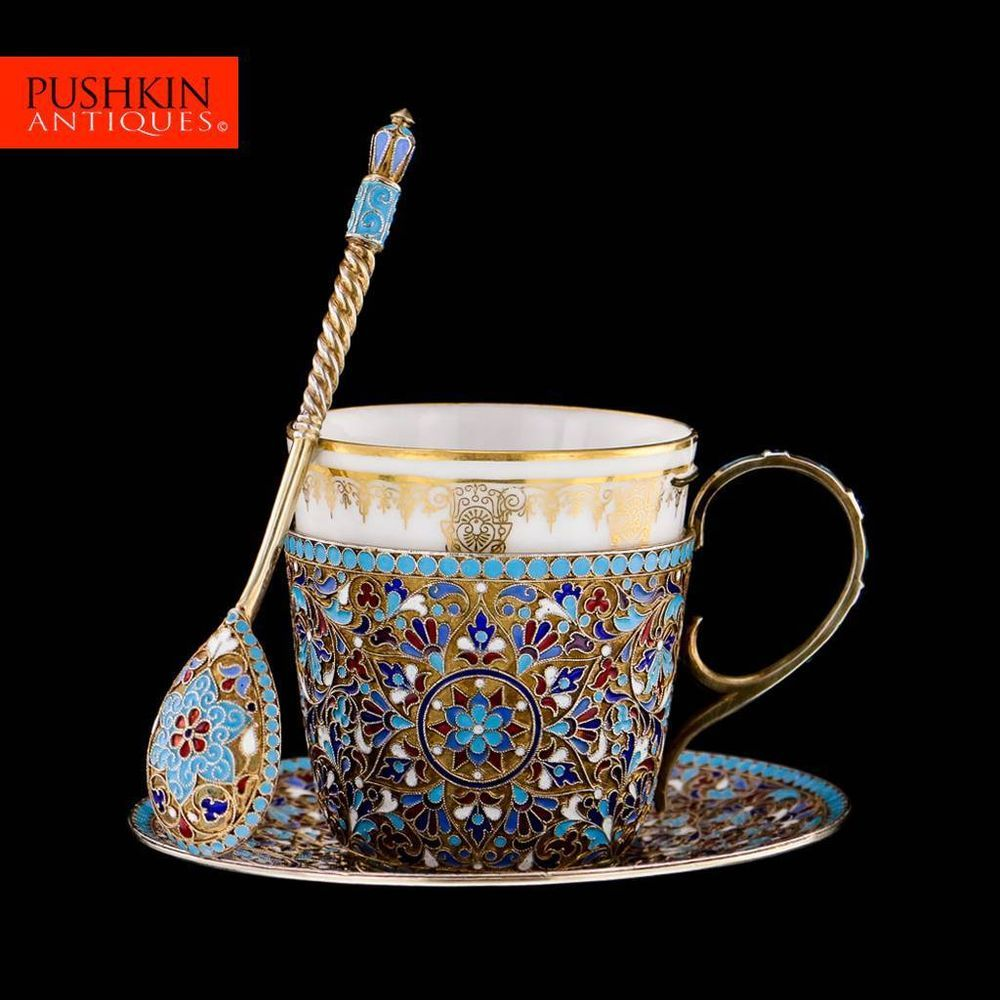 ANTIQUE 20thC IMPERIAL RUSSIAN SOLID SILVER & ENAMEL CUP, SAUCER & SPOON c.1900