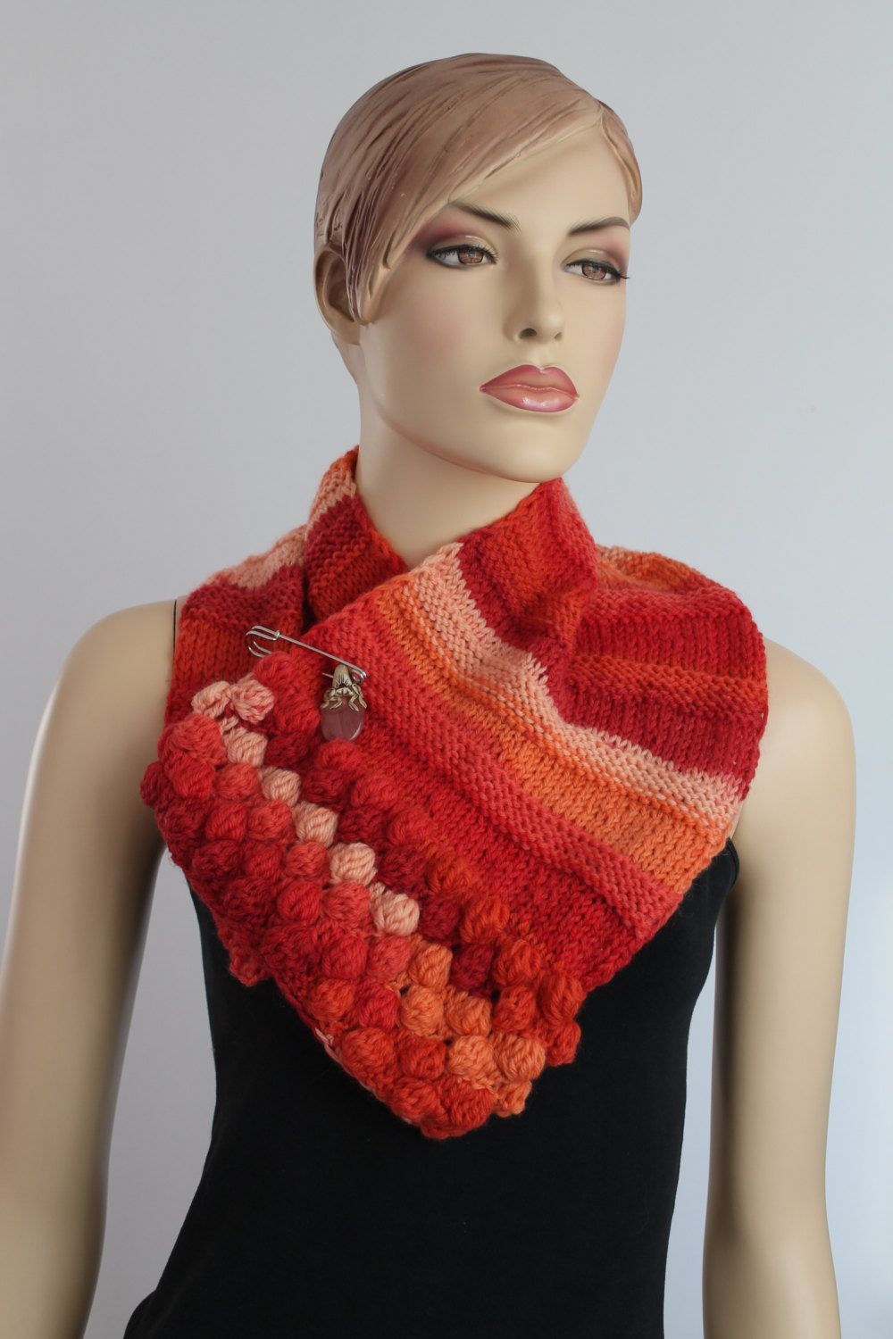 Hand Knitted  Scarf - Neck Warmer-  Pin- Natural Stone. $59.00, via Etsy.