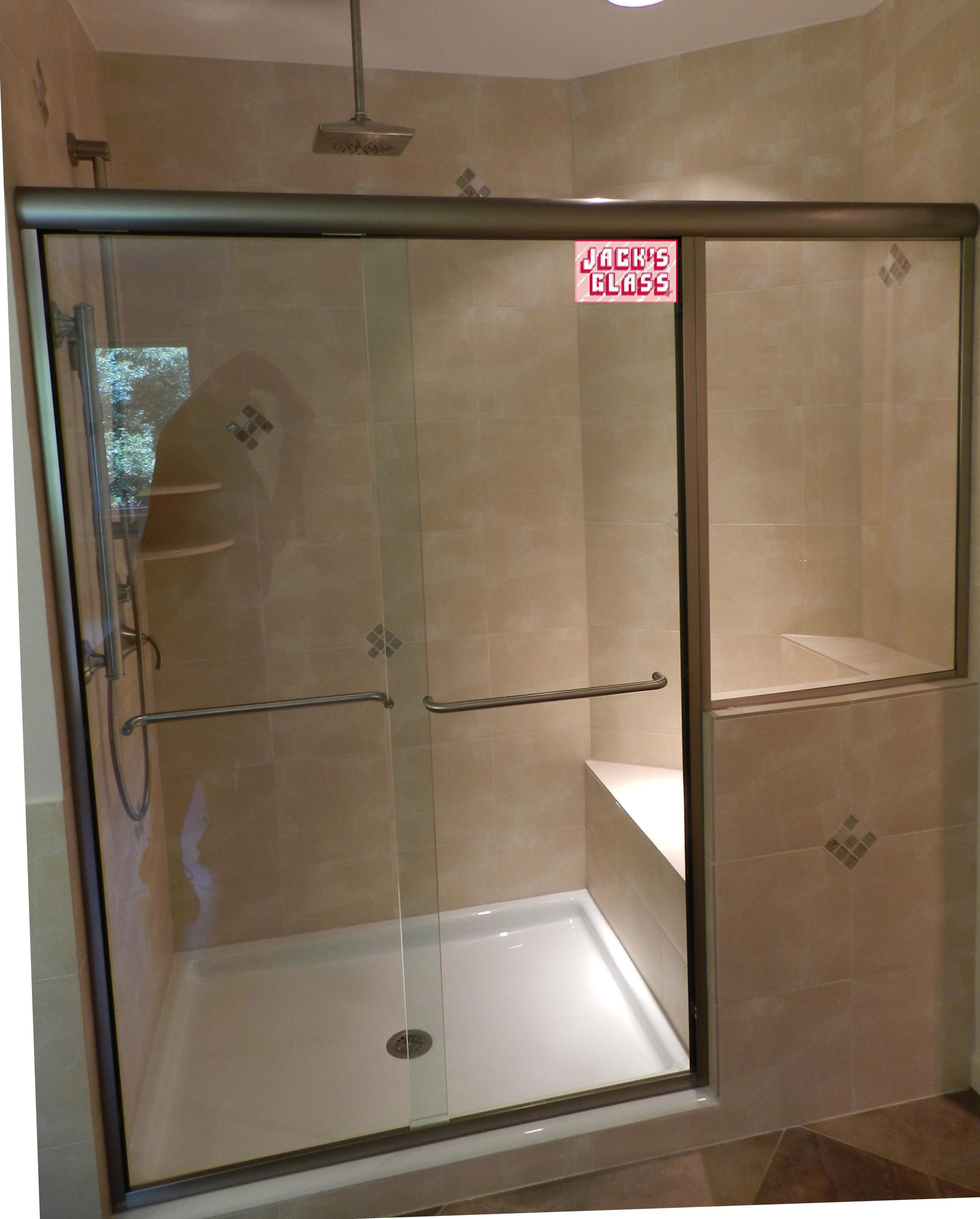 semi frameless single shower doors 2. Semi-Frameless Slider And Stationary Panel, Custom Shower Door, Jack\u0027s Glass Semi Frameless Single Doors 2