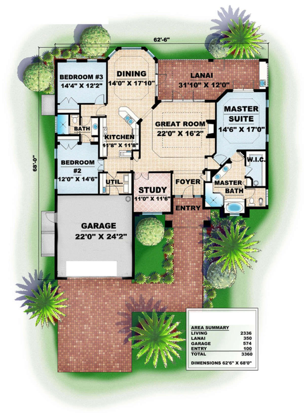House Plan 575 00017 Florida Plan 2 336 Square Feet 3 Bedrooms 3 Bathrooms Florida House Plans Florida Design House Plans