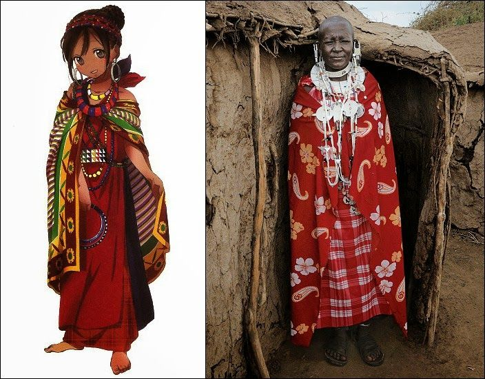 japanese anime in various traditional african attire