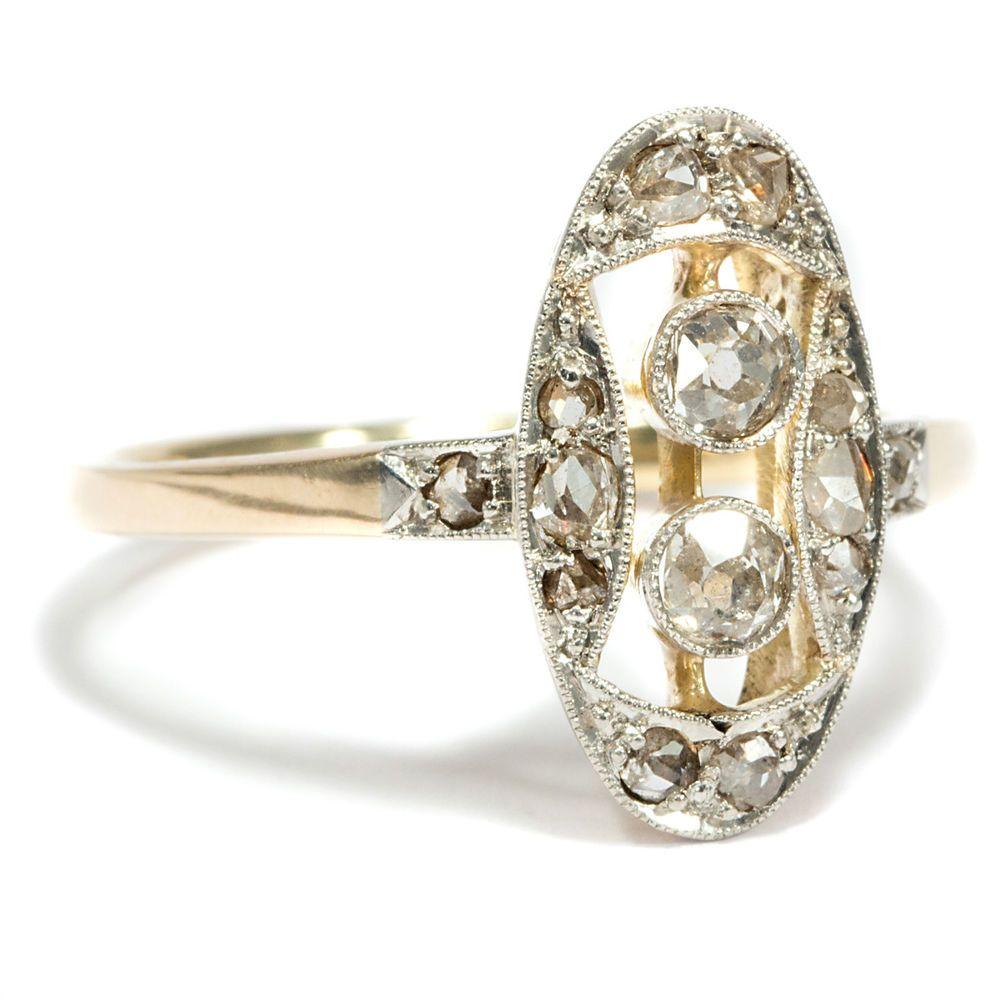Hübscher Jugendstil DIAMANT RING 585 Gold & Platin, Verlobungsring, Diamanten