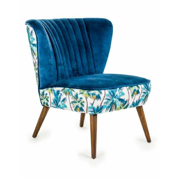 Terrific Tropical Blue Velvet Style Winged Occasional Chair Palm Tree Caraccident5 Cool Chair Designs And Ideas Caraccident5Info