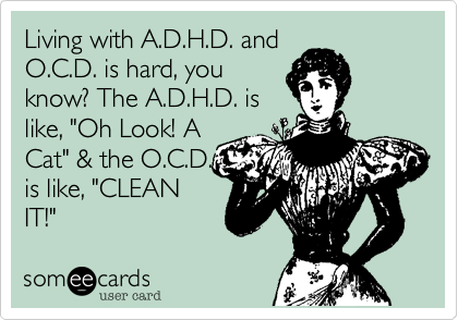 Living With A D H D And O C D Is Hard You Know The A D H D Is Like Oh Look A Cat The O C D Is Like Clean It Someecards Ecards Funny Haha Funny