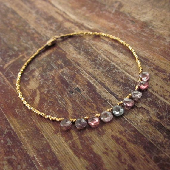 Multicolored Spinel Bracelet with 24K Gold Vermeil Beads