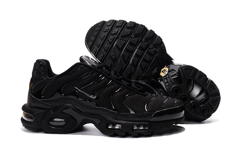 f1e34b1011 Nike Air Max Plus TN Black Metallic Silver Men's Running Shoes Sneakers