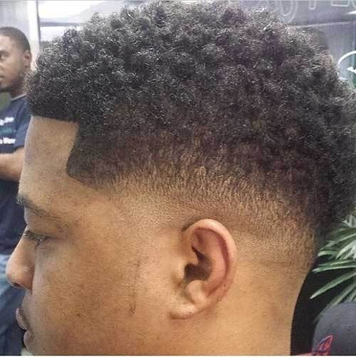 Trendy Black Male Fade Hair Side View Tapered Haircut Black