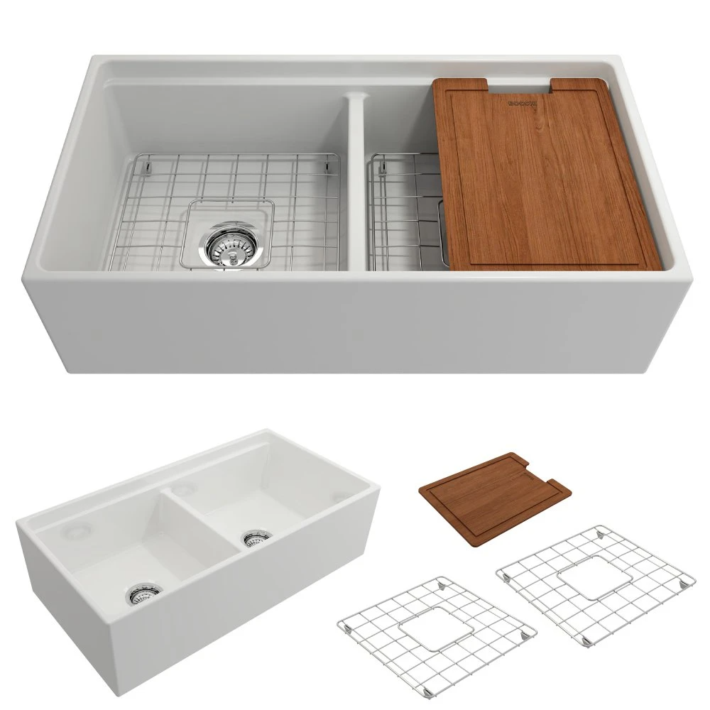 Bocchi Contempo 36 Schamott Bauernhaus Waschbecken 50 50 Doppelschale Weiss 1348 001 0120 Bauernhaus In 2020 Double Bowl Kitchen Sink Sink Single Bowl Kitchen Sink