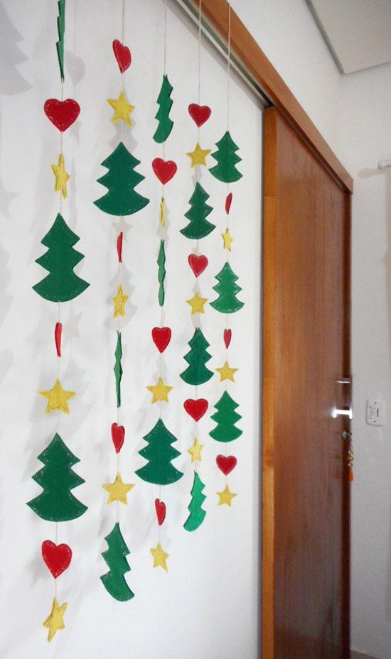 Decoraç u00e3o de natal como fazer móbile natalino ideias Christmas Ornaments, Christmas Tree  # Decoração De Natal Simples Escola