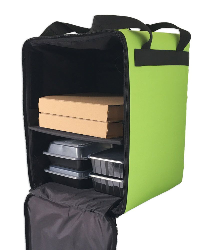 Insulated Food Delivery Bag For Cycle Bike Scooter Courier For Uber Eats Deliveroo Green