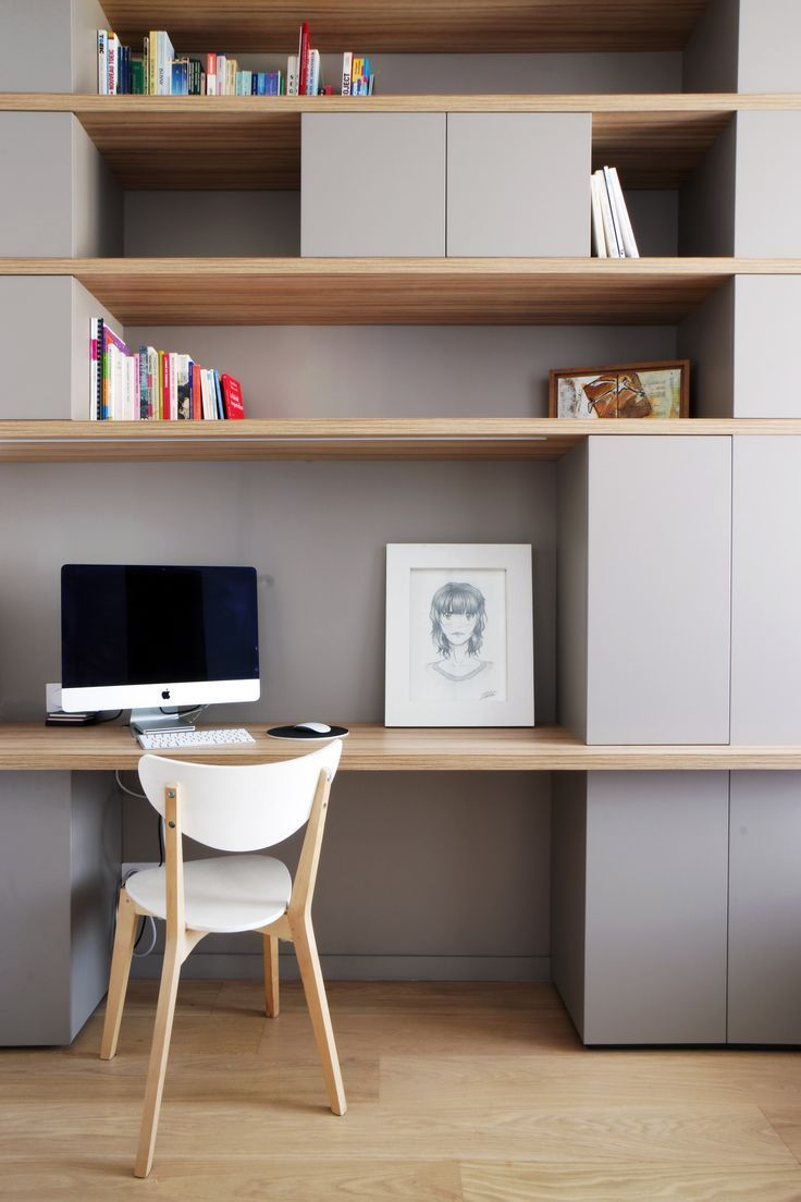 amenager bureau dans salon un bureau intgr la bibliothque virginie debacq with amenager bureau. Black Bedroom Furniture Sets. Home Design Ideas
