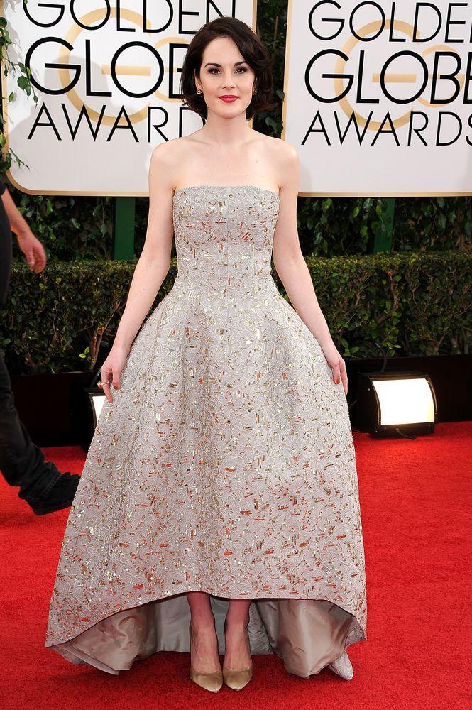 Michelle Dockery in Oscar De La Renta, Bulgari Golden Globes Red Carpet 2014