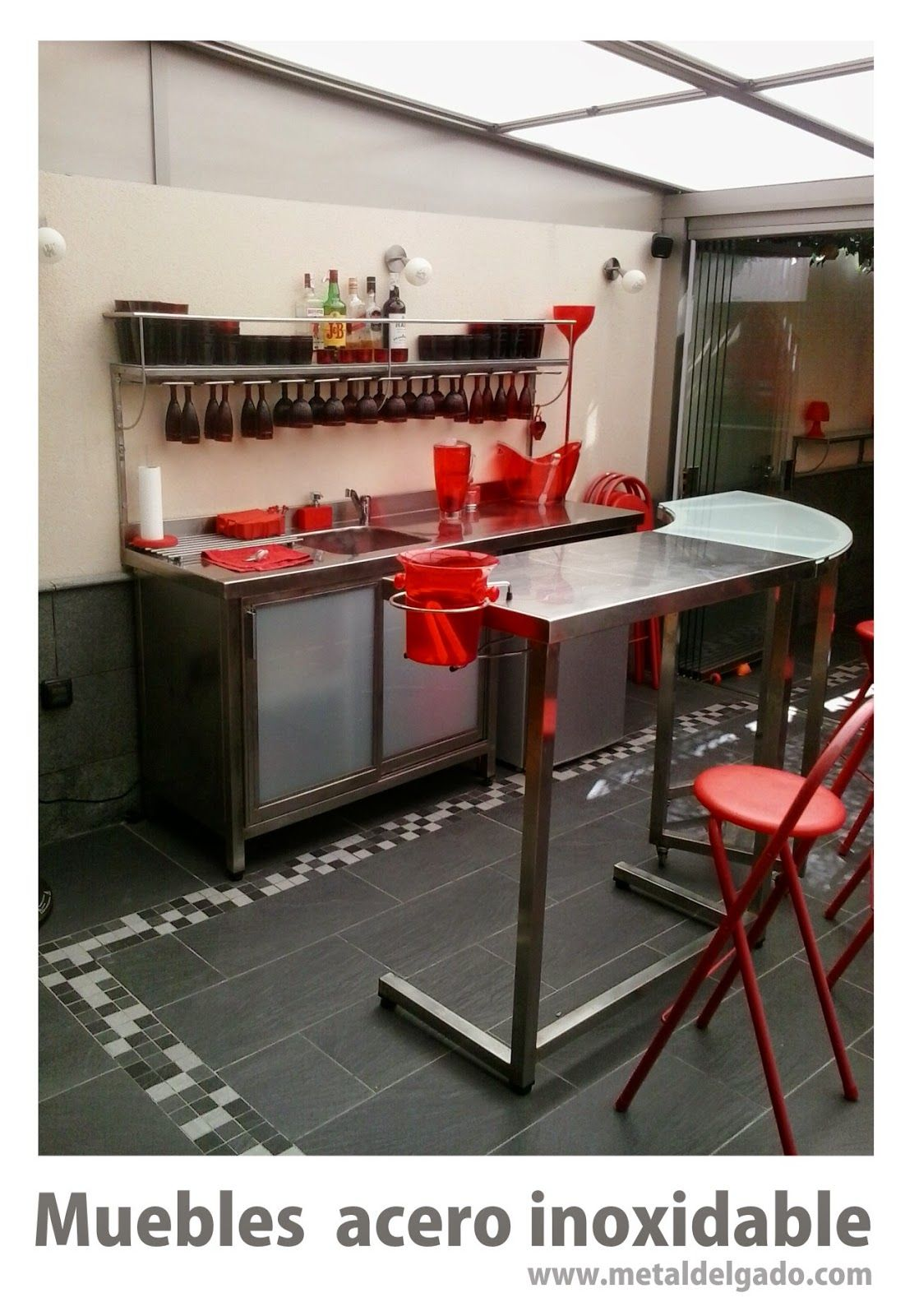 Conjunto de muebles en acero inoxidable, diseño y fabricación Metal ...