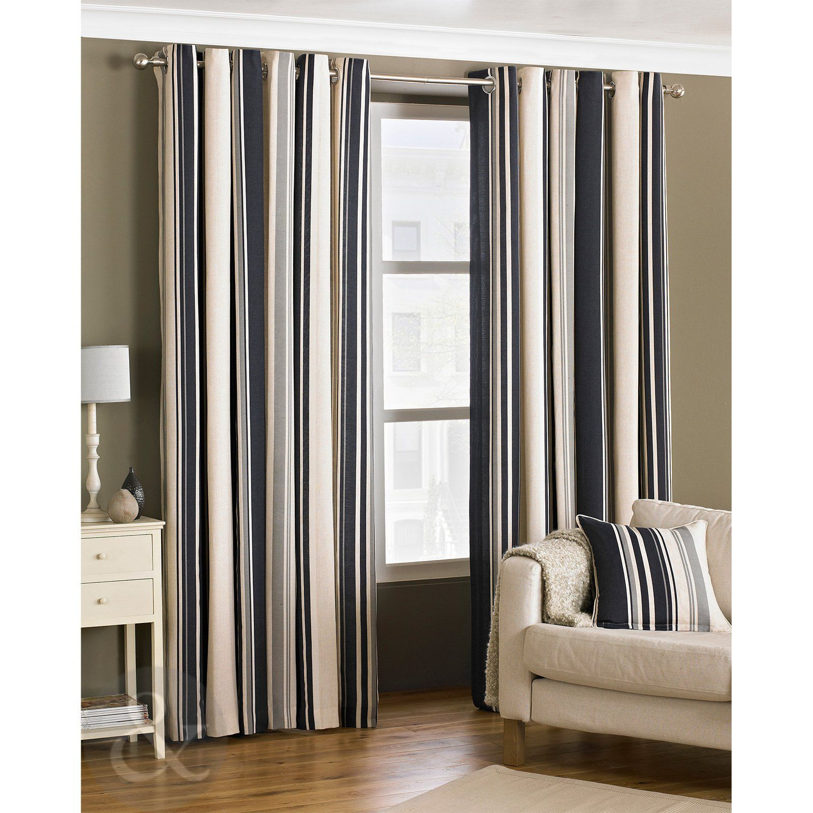 Kitchen Curtains Amazon Co Uk: Fully Lined Cream Grey & Black Curtain Pair Black ( Grey