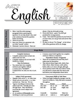 ACT English Test Prep / Grammar, Usage, and Rhetorical Rules ...