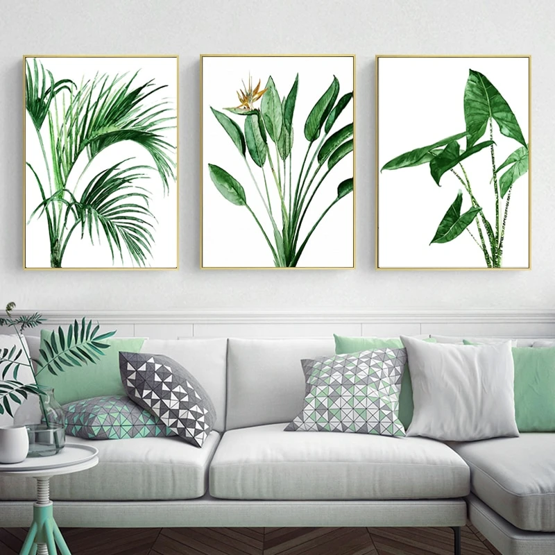 Modern Scandinavian Green Leaves Wall Art Tropical Botany Watercolor Fine Art Canv Scandinavian Decor Living Room Wall Art Living Room Living Room Scandinavian